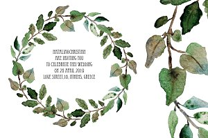 Watercolor Wreath with Leaves(5)