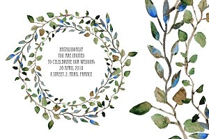 Watercolor Wreath with Leaves(6)