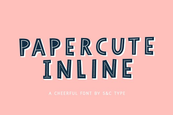 Display Fonts: S&C Type - Papercute Inline Font Collection