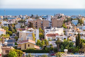 Paphos rooftop cityscape, Cyprus