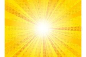 Comic yellow sun rays