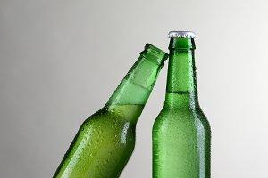 Closeup Green Beer Bottles Vertical