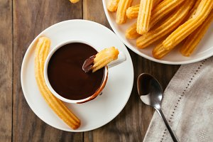 Chocolate with churros to view