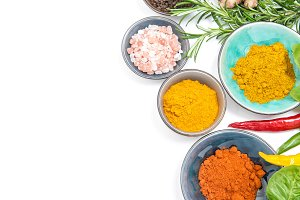 Herbs spices white background Health