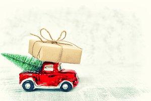 Red car gift box Christmas tree