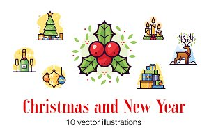 Christmas and New Year illustrations