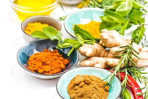 Herbs spices white background Curry