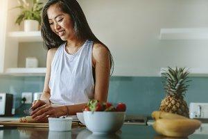 Female making healthy breakfast