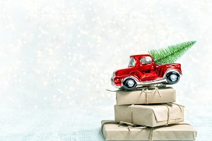 Christmas gifts red car toy Winter
