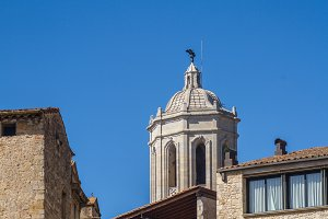 Bell tower Girona cathedral detail