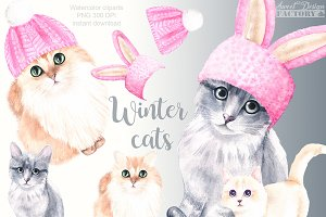 Winter cats clipart
