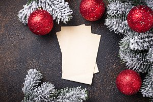 Empty greeting card for Christmas
