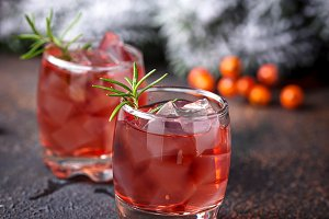 Christmas cranberry drink with