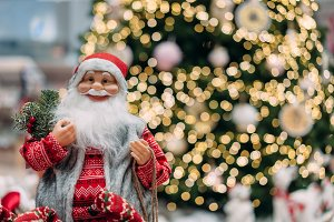 Happy Santa on background of bokeh c