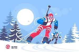 Biathlon race skiing man flat poster