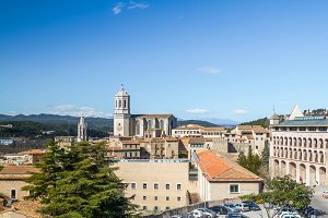 Girona old quarter panorama