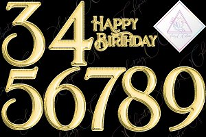 Gold Foil Balloons Numbers Clipart