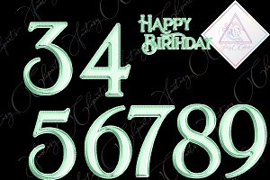 Mint Foil Balloon Numbers Clipart