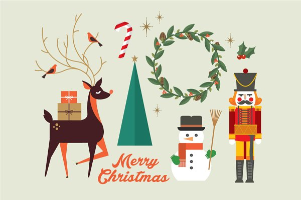 christmas elements/greeting vector