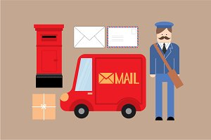 postman/ mail vector/illustration