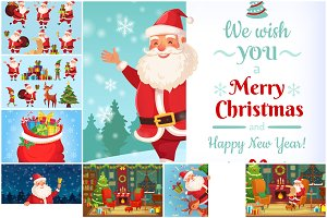 Christmas Santa and Helpers vectors