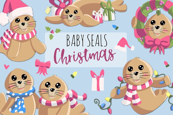 Baby Seals Christmas In Pink