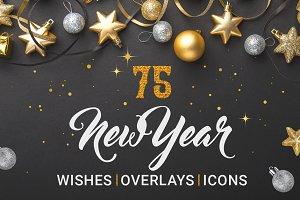 New Year Photo overlays and wish set