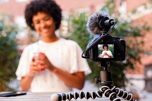 Woman recording a video content