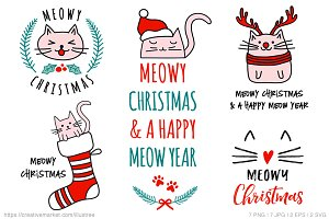 Cute cat Christmas card, vector set