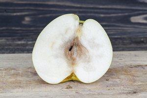 cut large ripe pear