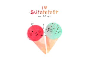 I love Summmer fun illustration