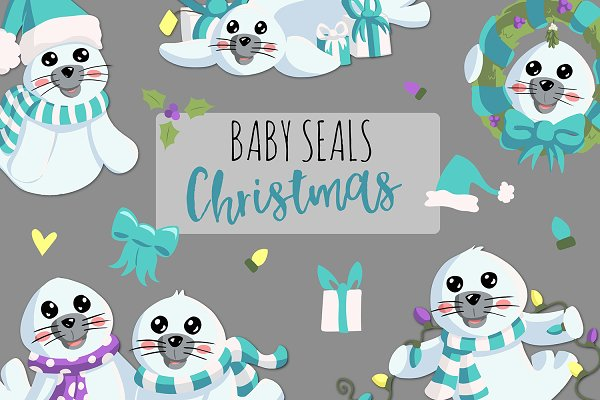 Baby Seals Christmas in Teal