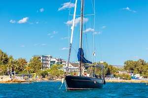 Sailboat moored in Limassol