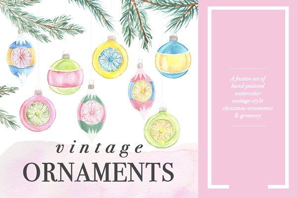 Vintage Watercolor Ornaments