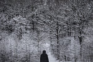 Man walking with his dog in winter