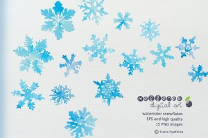 watercolor vector snowflakes