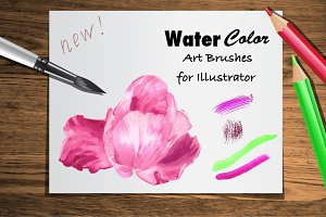 Set Watercolor Brushes for Ai