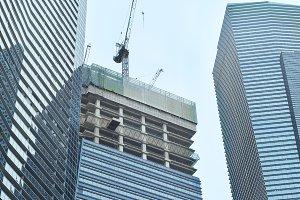 Construction site crane skyscraper