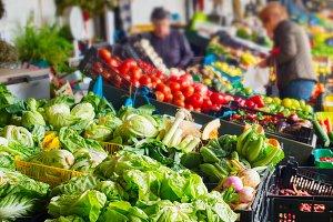 Vegetable stall  Bolhao market Porto
