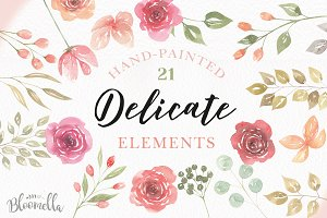 Watercolor Clipart Elements Roses