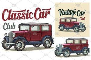 Retro sedan. Side view. Classic Car
