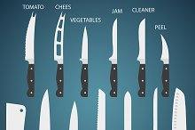 13 Flat Kitchen knives with function
