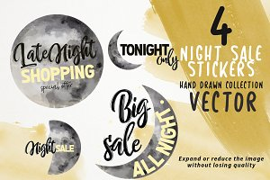 Night sale stickers vector
