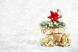 Christmas gifts ornaments golden lig