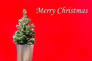 Mini Christmas tree on red