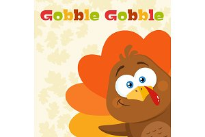 Turkey Bird Cartoon Character Waving