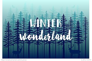 Winter forest, vector backgrounds