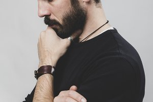 Bearded thoughtful man