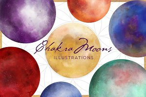 Chakra Moon Illustration Set