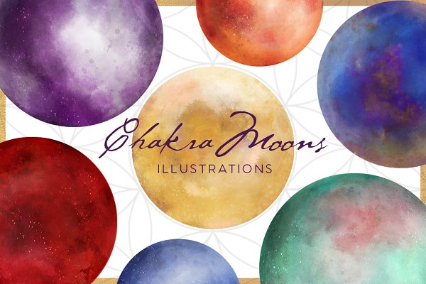 Chakra Moon Illustration Set